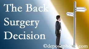 New Roads back surgery for a disc herniation is an option to be carefully studied before a decision is made to proceed.