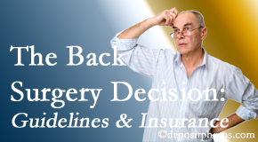 New Roads Chiropractic Center notes that back pain sufferers may choose their back pain treatment option based on insurance coverage. If insurance pays for back surgery, will you choose that?