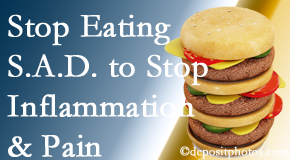 New Roads chiropractic patients do well to avoid the S.A.D. diet to reduce inflammation and pain.