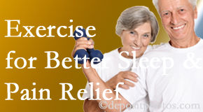 New Roads Chiropractic Center incorporates the recommendation to exercise into its treatment plans for chronic back pain sufferers as it improves sleep and pain relief.