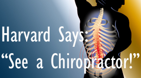 New Roads chiropractic for back pain relief urged by Harvard
