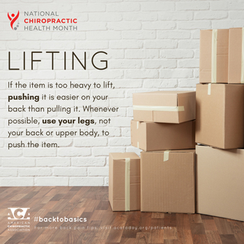 New Roads Chiropractic Center advises lifting with your legs.